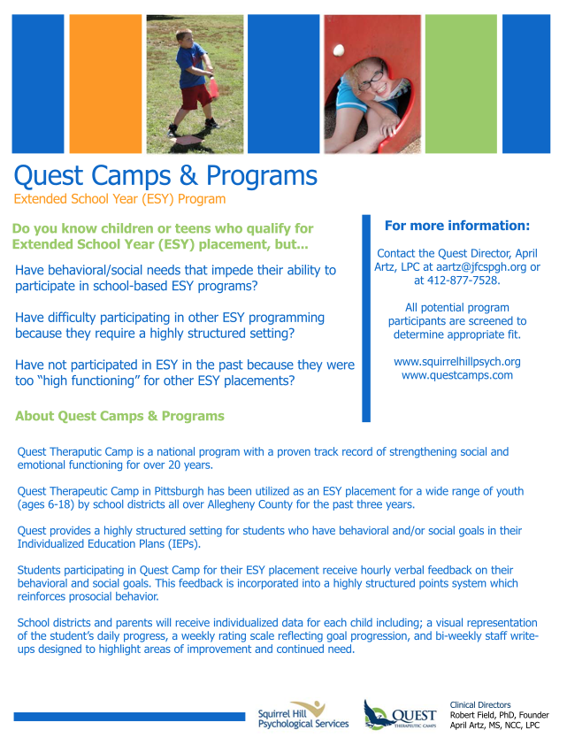 Quest Camp Extended School Year (ESY) Program