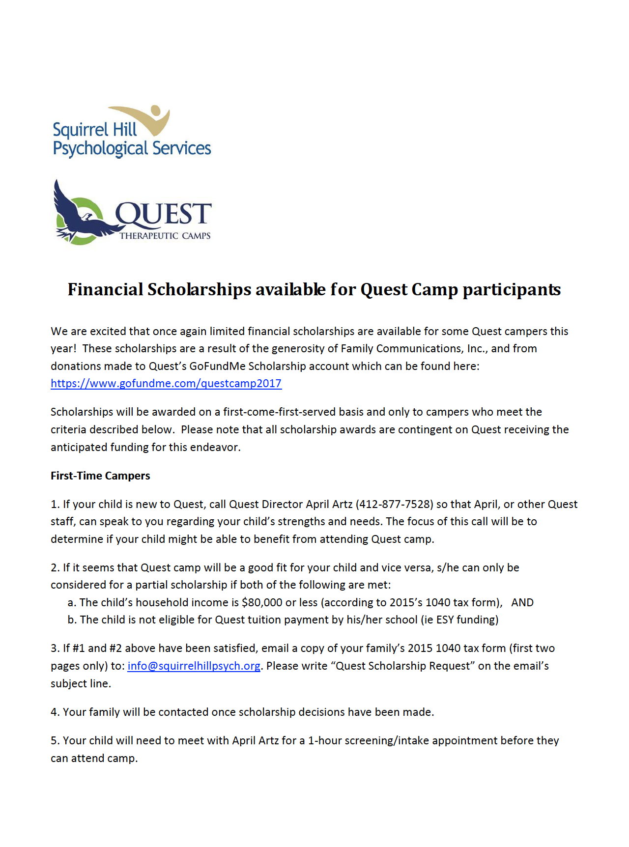 Quest Camp Scholarships 2017