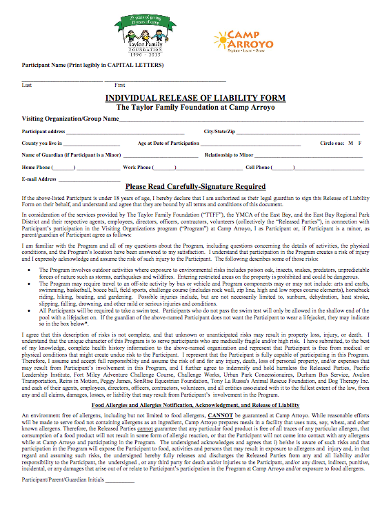 Individual Release of Liability Form thumbnail