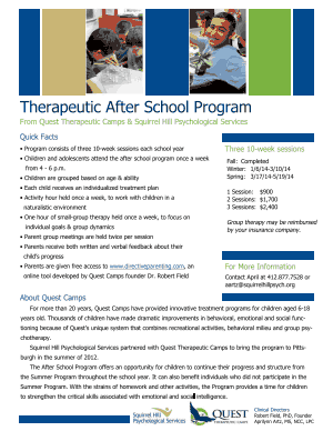 Therapeutic After School Program 2015