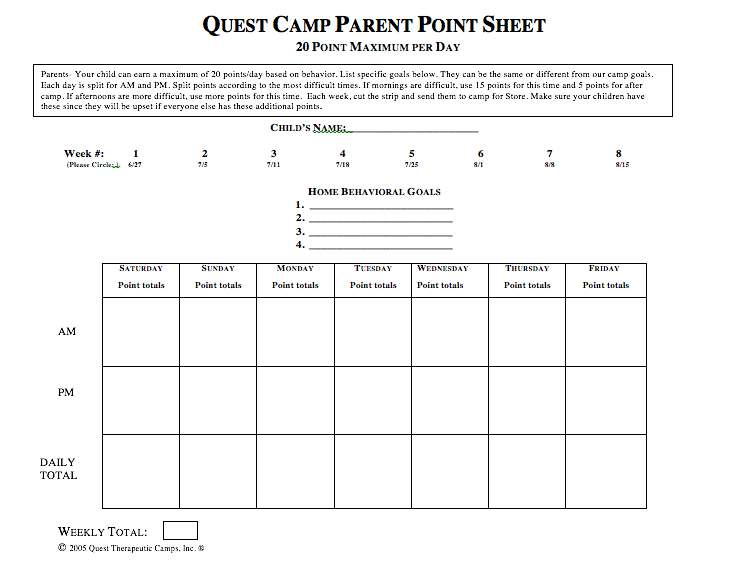 Quest Camp Summer Parent Point Sheet