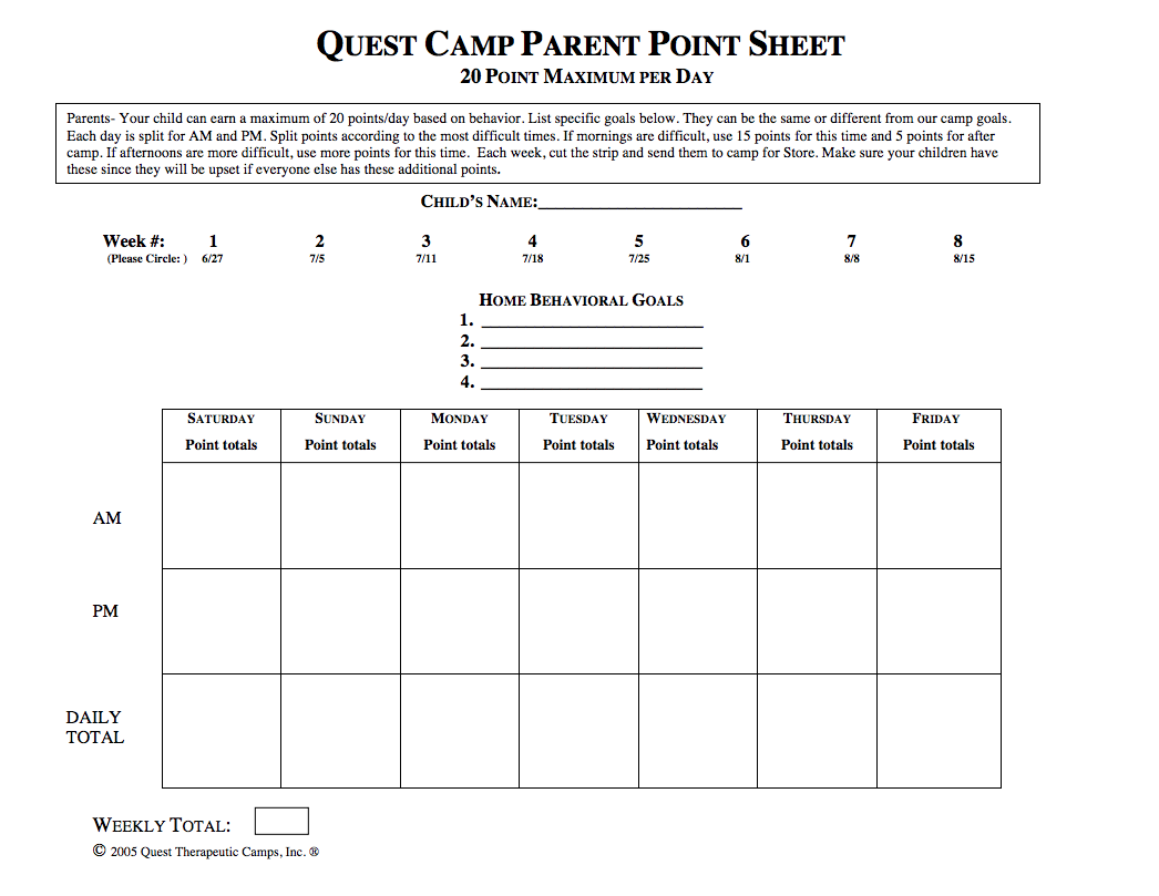 Summer Parent Point Sheet thumbnail